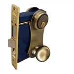 Marks 21AC/5-W-RHR Antique Brass US5 Right Hand Ornamental Unilock Knobe/Plate Mortise Entry Lockset Iron Gate Door Double Cylinder Lock Set