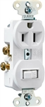 Cooper, 274W-BOX, 2 Pole, 3 Wire Grounding, Combination Switch & Outlet, Duplex, 15A, 125V, White