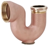 "Aqua Plumb, 2940010, 2"" x 1-1/2"" IPS Rough Brass NY Sink Trap W/Clean Out"