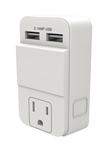 Stanley, 30405, PlugMax Dual USB, White, Rapid Charge USB Adapter, 1 Grounded Outlet 2 USB Wall Tap