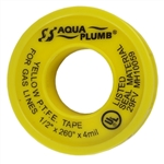 "AQUA PLUMB, 3127Y, 1/2"" x 260"", Yellow P.T.F.E. Gas Line Pipe Thread Seal Teflon Tape"