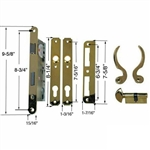 "Ultra Hardware, 44625, Brass, Right Hand, Single Cylinder Mortise Entry Lever Handle Plate Trim Set, Narrow Style Storm Door Lockset with 1-3/4"" Backset Lock Set"