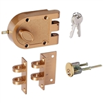 Ultra Hardware 44860 Jimmy Proof Single Cylinder Deadlock Deadbolt With Angle and Flat Strike - Brass, Boxed