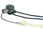 Cooper Wiring, 458NP-BOX, Pull Chain Switch, Single Pole On-Off; 1A-125V T, 3A-125V, 1A-250V; With Two 6 Inch Black Leads 18 Awg Awm Tew 105C 600V, Stripped 1/2 Inch