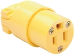 Pass & Seymour, 4887YCC10, 15A, 125V, Yellow, Heavy Duty Vinyl Construction, Connector, 2 Pole, 3 Wire