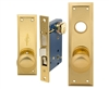 Em-D-Kay (Marks 91A/3 Like) 5100AR Right Hand Heavy Duty Polished Brass Mortise Entry Lockset, Surface Mounted Screw-on Knobs Lock Set