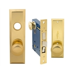 Em-D-Kay (Marks 114A/3 Like) 5114AL Left Hand Heavy Duty Polished Brass Mortise Entry Lockset, Screwless Knobs Thru Bolted Lock Set