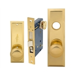 Em-D-Kay (Marks 114A/3 Like) 5114AR Right Hand Heavy Duty Polished Brass Mortise Entry Lockset, Screwless Knobs Thru Bolted Lock Set