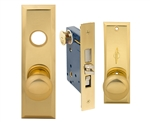 "Em-D-Kay (Marks New Yorker 7NY10A/3 Like) 5700AL Polished Brass US3 Left Hand Heavy Duty Mortise Entry Lockset Through Bolted - Screwless Knobs with Self adjusting Spindles, 2-3/4"" Backset, 1-1/4"" x 8"" Wide Faceplate, Lock Set"