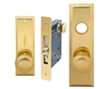 "Tuff Stuff (Marks New Yorker 7NY10A/3 Like) 5700AR Polished Brass US3 Right Hand Heavy Duty Mortise Entry Lockset Through Bolted - Screwless Knobs with Self adjusting Spindles, 2-3/4"" Backset, 1-1/4"" x 8"" Wide Faceplate, Lock Set"