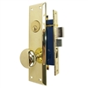 Tuff Stuff Security Metro Version (Marks 91A/3 Like) 6100AL Left Hand Polished Brass US3 Apartment Mortise Entry Lockset, swivel spindle with Screw on Knobs Surface Mounted Lock Set