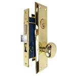 Tuff Stuff Security Metro Version (Marks 91A/3 Like) 6100AR Right Hand Polished Brass US3 Apartment Mortise Entry Lockset, swivel spindle with Screw on Knobs Surface Mounted Lock Set
