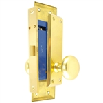 "HUD (Marks 91DW/3 Like) Polished Brass Left Hand Mortise Lock Knob Vestibule Function Always Locked Storeroom Latch Only Lockset, Surface Mounted Screw-on Knobs Lock Set with MAXTECH Front face plate:1-1/16"" x 7-5/8"""