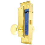 "HUD (Marks 91DW/3 Like) Polished Brass Right Hand Mortise Lock Knob Vestibule Function Always Locked Storeroom Latch Only Lockset, Surface Mounted Screw-on Knobs Lock Set with MAXTECH Front face plate:1-1/16"" x 7-5/8"""