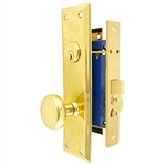 HUD (Marks 91D/3 Like) Polished Brass Left Hand Mortise Lock Knob, Office Vestibule, Passage Always Open OR Storeroom Always Locked, Classroom, Latch and Rocker (No Bolt) Lockset, Surface Mounted Screw-on Knobs Lock Set