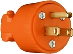 Pass & Seymour, 6867OCC10, 15A, 125V, Orange, Residential Heavy Duty Vinyl Construction Plug