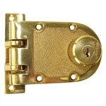 Marks 68F/3 Polished Brass Finish US3 Double Cylinder Solid Jimmy Proof Deadbolt Lock Set With Flat Strike And Schlage SC1 Keyway