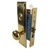 "Marks 71A/3, Left Hand Brass US3 Mortise Entry Lockset Surface Mounted - Screw On Knobs with Swivel Spindle, 2-3/4"" Backset, 1-1/4"" x 8"" Wide Faceplate, Lock Set"