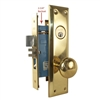 "Marks Metro 71A/3, Right Hand Brass US3 Mortise Entry Lockset Surface Mounted - Screw On Knobs with Swivel Spindle, 2-3/4"" Backset, 1-1/4"" x 8"" Wide Faceplate, Lock Set"