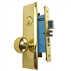 Marks New Yorker 7NY10A/3, Left Hand Polished Brass Mortise Entry Lock Set, Screwless Knobs Thru-Bolted Lockset