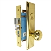 Marks New Yorker 7NY10A/3, Right Hand Polished Brass Mortise Entry Lock Set, Screwless Knobs Thru-Bolted Lockset