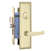Marks New Yorker 7NY92A/3, Right Hand Polished Brass Mortise Entry Lock Set, Screwless Lever Thru-Bolted Lockset