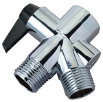 "Delta Master Plumber, 861237, 1/2"" FPT x 1/2"" MPT x 1/2"" MPT, Plastic, Chrome Finish, Shower Flow Diverter"