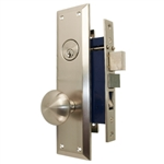 City Strength (Marks 91A/26D Like) 87120L Left Hand Heavy Duty Satin Nickel US15 Apartment Mortise Entry Lockset, swivel spindle with Screw on Knobs Surface Mounted Lock Set