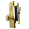 "Marks Metro 91A/3-X Left Hand Brass Mortise Entry, Surface Mounted Lockset with 1-1/4"" x 8"" Wide Face Plate Lock Set"