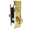 "Marks Metro 91A/3-X Right Hand Brass Mortise Entry, Surface Mounted Lockset with 1-1/4"" x 8"" Wide Face Plate Lock Set"