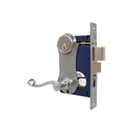 Marks, 9215AC/26D-W-LHR, Satin Chrome, Left Hand, Ornamental Unilock Lever Plate Mortise Entry Lockset Iron Gate Door Double Cylinder Lock Set