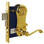 Marks 9215AC/3-W-RHR Polished Brass US3 Right Hand Reverse Ornamental Unilock Lever Plate Mortise Entry Double Cylinder Lock Set For Iron Gate Door