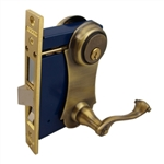 Marks, 9215AC/5-W-RHR, Antique Brass, Right Hand, Ornamental Unilock Lever Plate Mortise Entry Lockset Iron Gate Door Double Cylinder Lock Set