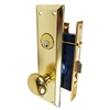 Gotham (Marks 91A/3 Like) 9900L Left Hand Heavy Duty Polished Brass Mortise Entry Lockset, Surface Mounted Screw-on Knobs Lock Set