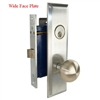 Marks New Yorker 9NY10DW/26D-X, Wide Face Plate, Right Hand Satin Chrome Mortise Lock Knob Vestibule Function Always Locked Storeroom Latch Only Lockset Screwless Knobs Thru Bolted, Lock Set