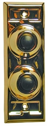 Lee Electric, BC203, Brass, Wired Classic Two Gang Family Unlighted Push Button, With Black Button For Bell
