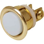 "Lee Electric 205B Gold Brass 5/8"" Wired Unlighted Insert Flush Chime Low Voltage Push Button With White Button For Bell"