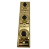 Lee Electric, BC208B, Brass, Wired Classic 3 Gang Family Unlighted Push Button, With Black Button For Bell