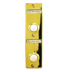 "Lee Electric, BC268LG, Gold, Wired Double Lighted Push Button With Name Plate, 5-1/4"" X 1-3/8"" For Bell"