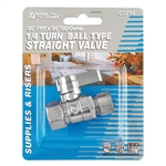 "Aqua Plumb C3714 1/4"" Turn Ball Straight Valve With 3/8"" FIP To Connector 3/8"" Compression"
