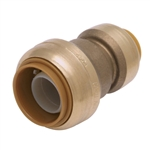 "PipeBite, CC10040, 3/4"" x 1/2"", Lead Free Reducing Coupling, (Sharkbite Like) Push Fit Fittings For Use With Copper Tubing CTS, CPVC & Pex With Integral Tube Liner Included"