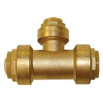 "PipeBite, CC10060, 3/4"" x 3/4"" x 1/2"", Lead Free Reducing Tee, (Sharkbite Like) Push Fit Fittings For Use With Copper Tubing CTS, CPVC & Pex With Integral Tube Liner Included"
