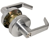 Trans Atlantic, Satin Chrome US26D, Always Locked Vestibule Storeroom Grade 2 Commercial Cylindrical ADA Angled Lever Lockset