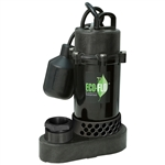 "Eco-Flo ECFSPP33W 1/3 HP ANODIZED ALUMINUM/THERMOPLASTIC SUMP PUMP W/ WIDE ANGLE SWITCH - FULLY SUBMERSIBLE - 1-1/2"" FNPT DISCHARGE (INCLUDES; 1-1/2"" MNPT X 1-1/4"" FNPT ADAPTER) - 8' POWER CORD - UP TO 3600 GPH - MAXIMUM VERITICAL LIFT OF 25'"