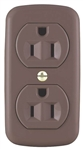 Cooper Wiring 78 Brown 15A 125V 3 Wire Grounded Surface Duplex Receptical Easily Mounted On Wall