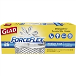 Glad 70403 Force Flex Quick-Tie Medium Garbage Trash Bags - Unscented - 8 Gallon 26 Count
