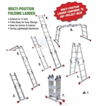 H.B. Smith Tools, L12FT, 12', Aluminum, Multi Positional Purpose Folding Ladder, 225 LB Duty Rating