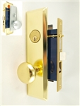 Maxtech (Marks 114A/26D & 114A/3 Like) Left Hand Satin Chrome & Brass, Heavy Duty Mortise Entry Lockset Screwless Knob Thru Bolted, Lock Set