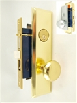 Maxtech (Marks 114A/26D & 114A/3 Like) Right Hand Satin Chrome & Brass, Heavy Duty Mortise Entry Lockset Screwless Knob Thru Bolted, Lock Set