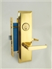 "Maxtech (Marks 11492A/3 Like) Right Hand, Brass, Heavy Duty Mortise Entry Screwless Lever Lockset Thru Bolted, 2-1/2"" Lock Set"